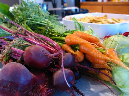 beets, carrots, and kohlrabi, with apple crisp in the background