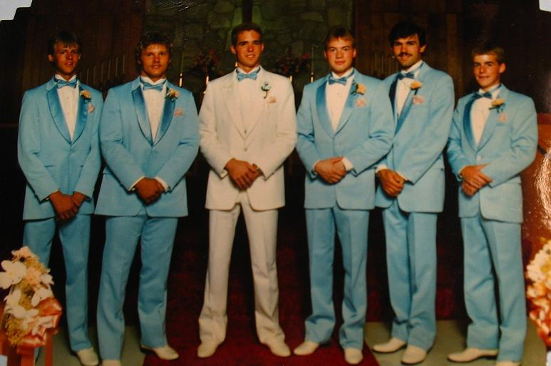 John, age 19, and groomsmen, at our wedding