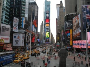 Times Square-look at all the taxi's